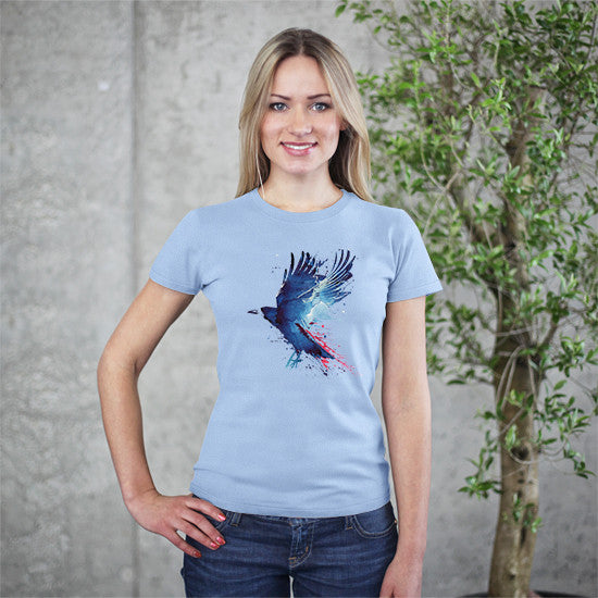 Artokingo - Bloody Crow Light Blue T-Shirt by Robert Farkas