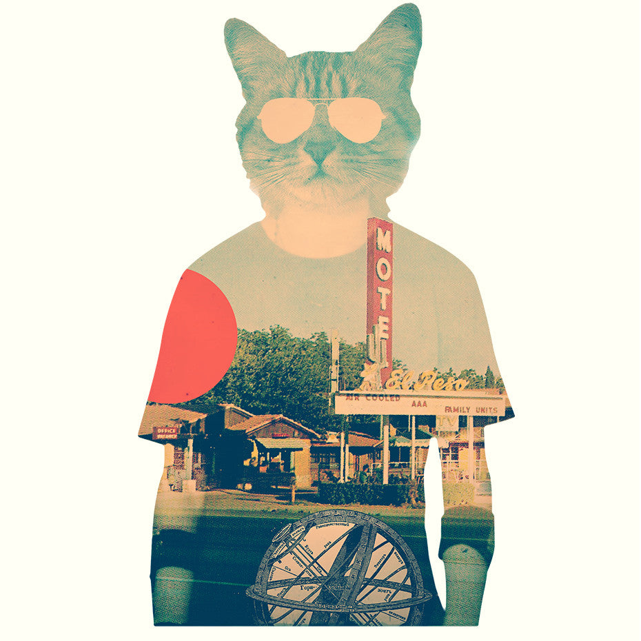 Artokingo - Cool Cat Creme T-Shirt by Ali Gulec