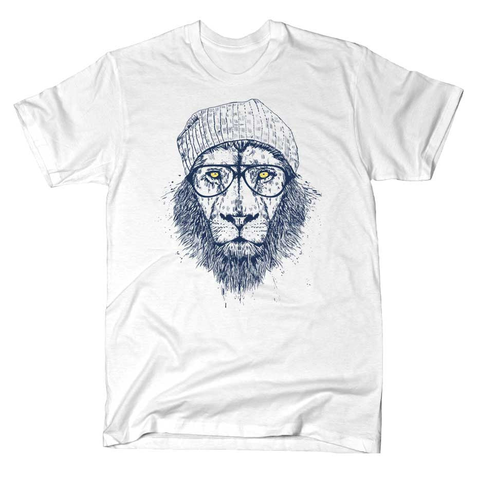 Artokingo - Cool Lion White T-Shirt by Balazs Solti