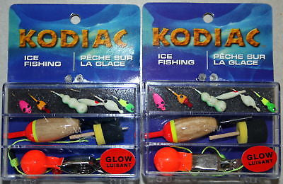 2 Kodiac Ice Fishing Kits 12 Jigs 4 Floats 2 Depth Find