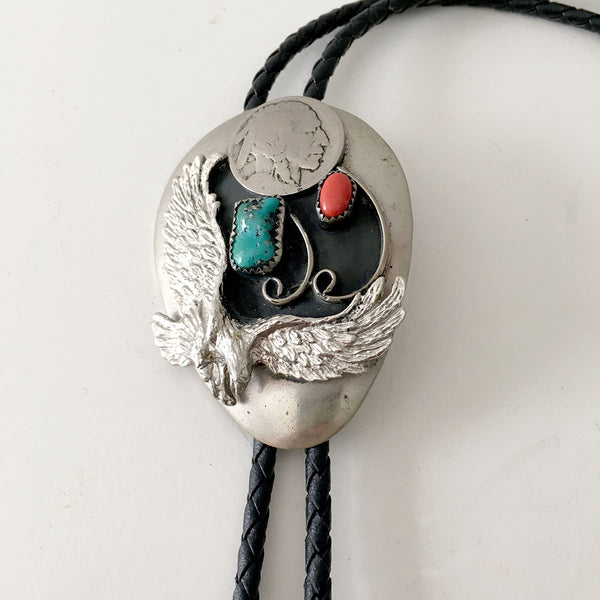 VINTAGE SILVER EAGLE TURQUOISE BOLO TIE