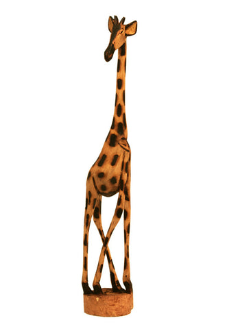 Hand Carved Wooden Giraffe 24""