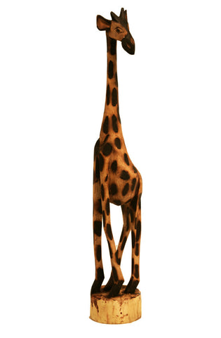 Hand Carved Wooden Giraffe 36""
