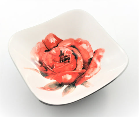 Red Rose Square Bowl (min 4)