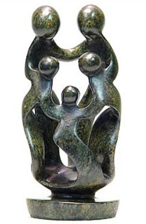 Abstract Soapstone Family of Five 12 cm