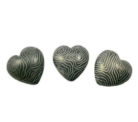 Champagne Grey Hearts 3cm (24 per display box - min 24)