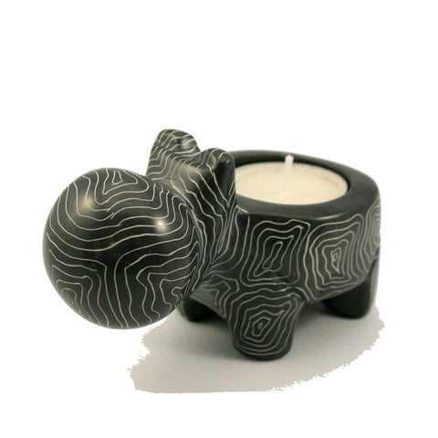 Champagne Grey Hippo Tealight 10cm (min 3)