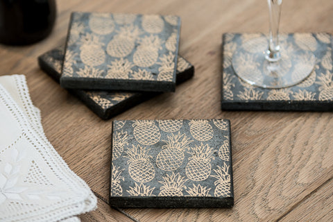 Gold Pineapple Set of 4 Coasters (min 4)
