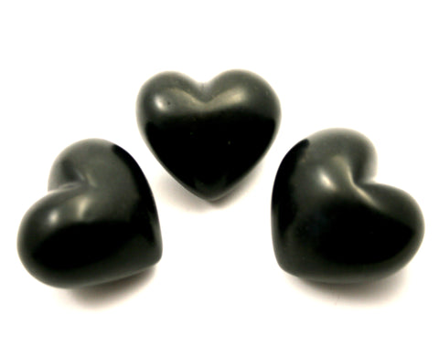 Black Soapstone Heart 4 cm (24 per display box - min 24)