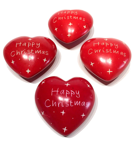 Happy Christmas Hearts 4 cm (24 per display box - min 24)