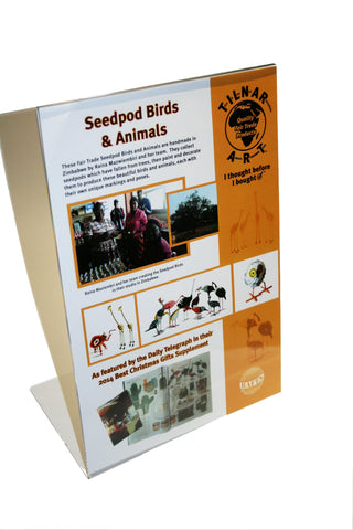 Point of Sale Poster for Seedpod Birds and Animals from Zimbabwe