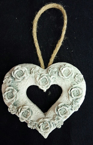 Rose Cut Out Heart - Duck Egg (min 8) 11 cm
