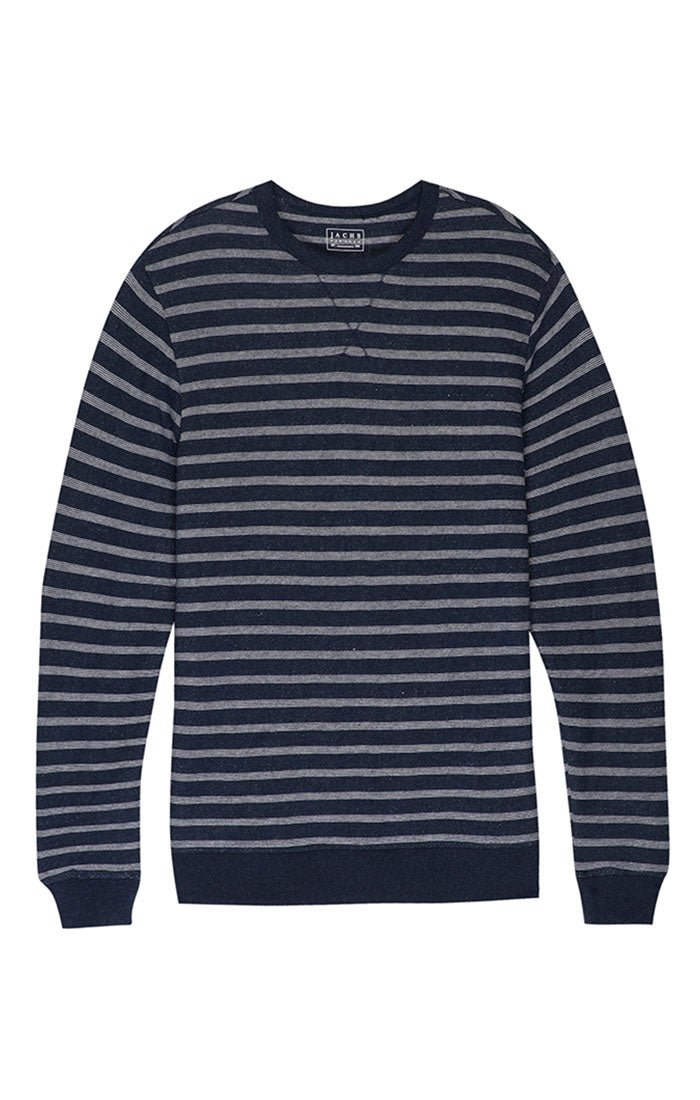 Navy Stripe French Terry Crewneck