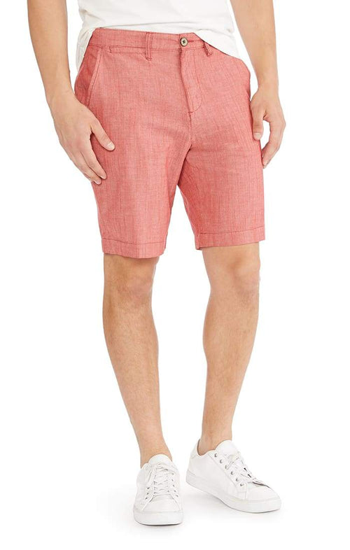 Red Stretch Chambray Short