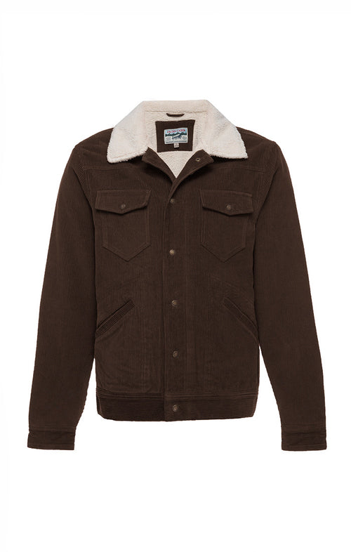 Brown Sherpa Lined Stretch Corduroy Trucker Jacket