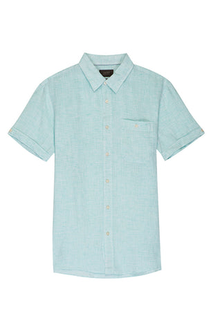 Blue Floral Linen Stretch Short Sleeve Shirt
