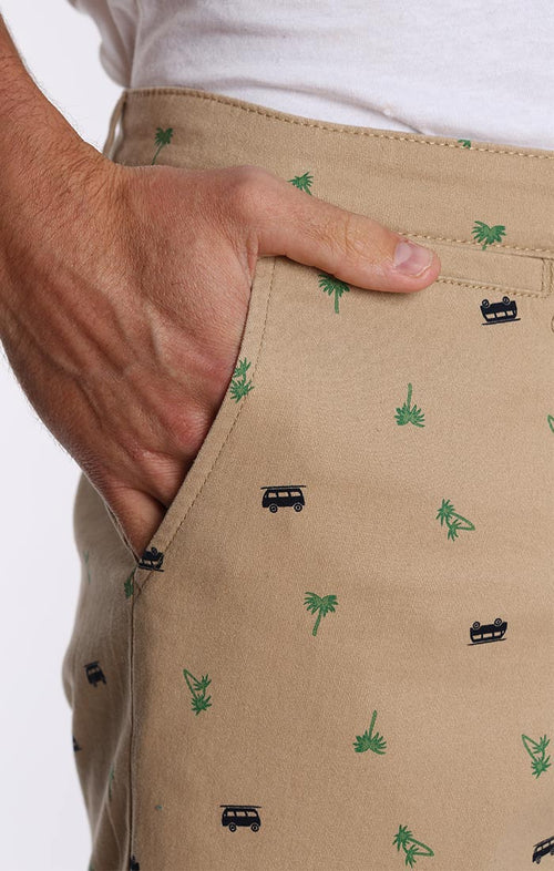 Palm Van Print Stretch Chino Short