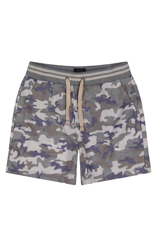 Cotton Linen Pull-On Camo Short