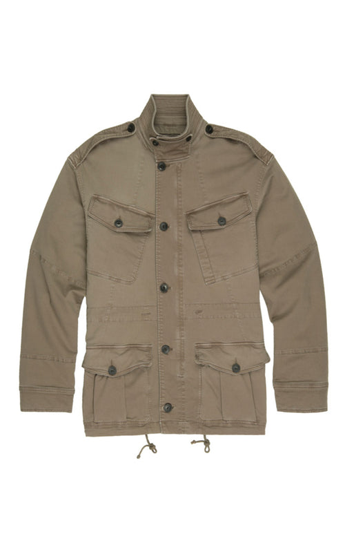 Olive Stretch Military Field Jacket