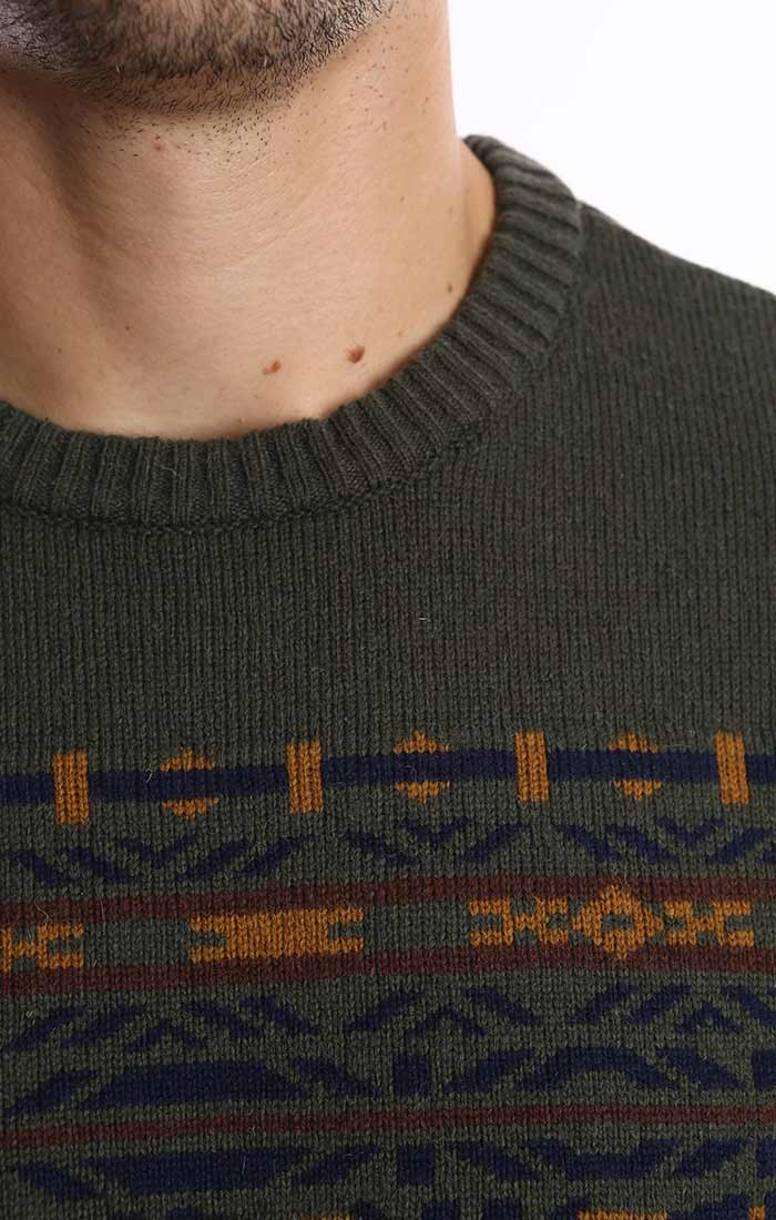 Forest Green Fair Isle Merino Wool Sweater