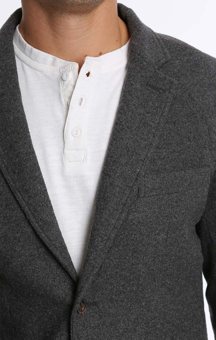 Charcoal Wool Blend Flannel Blazer