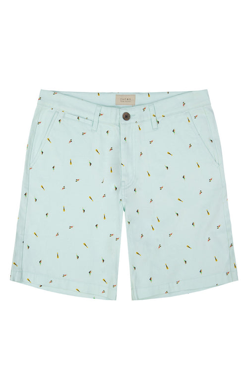 Mint Hula Print Stretch Chino Short