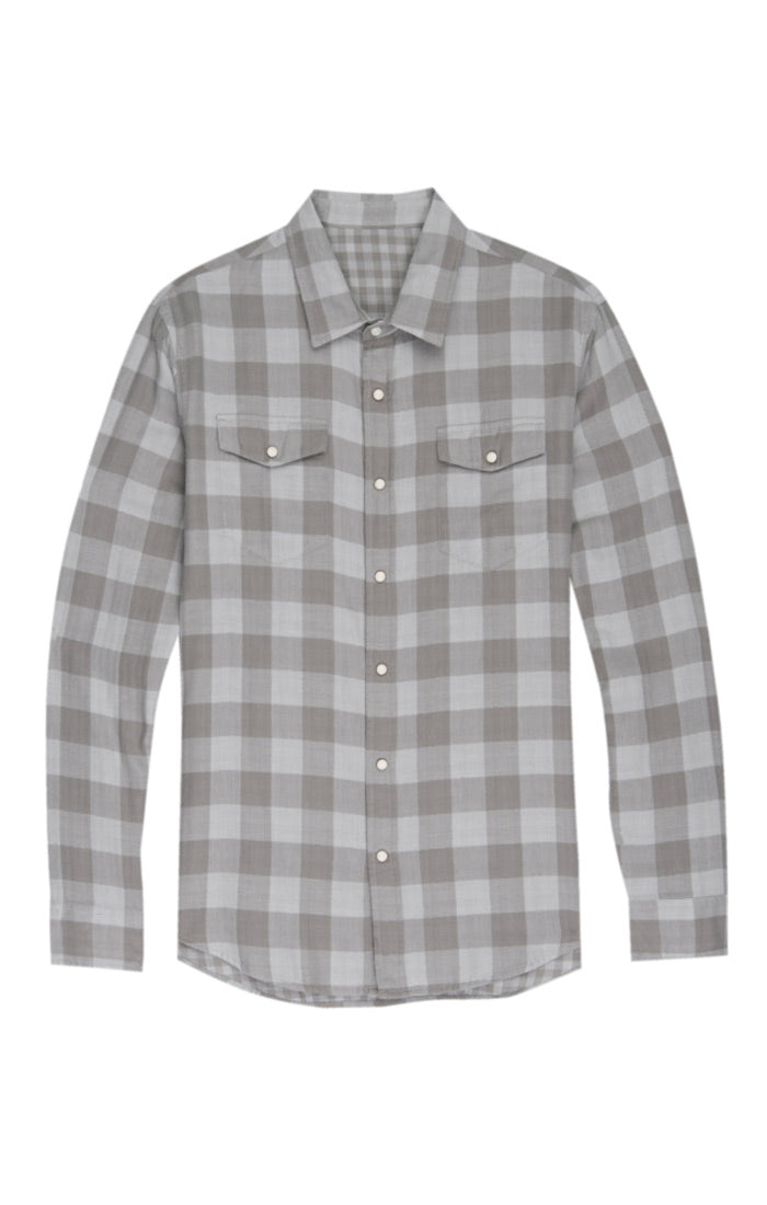 Grey Check Double Face Western Shirt