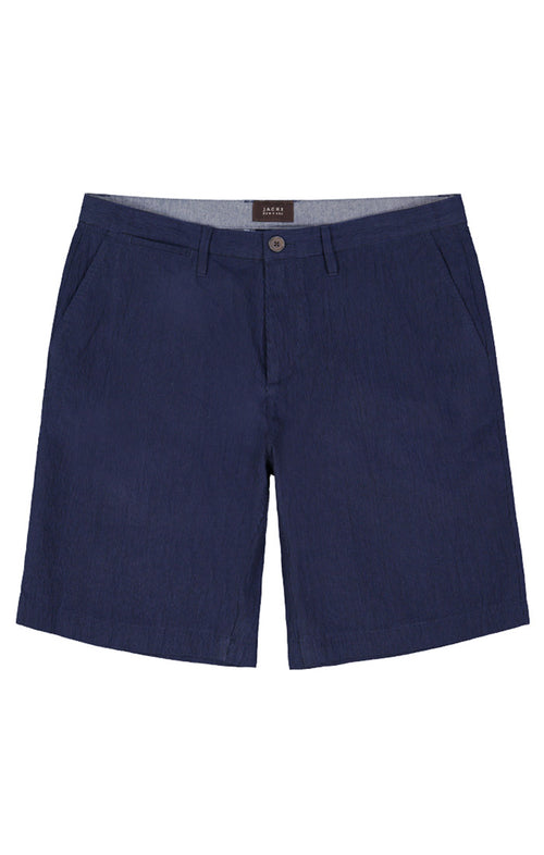 Navy Stretch Seersucker Short