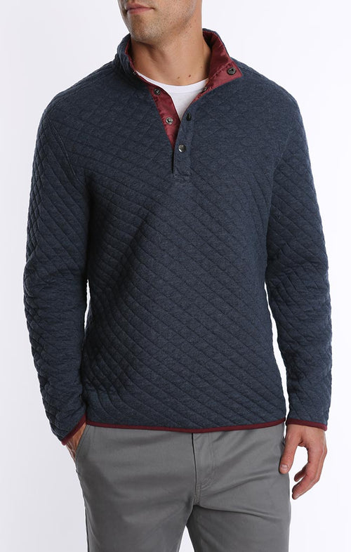 Quilted Mock Neck Pullover