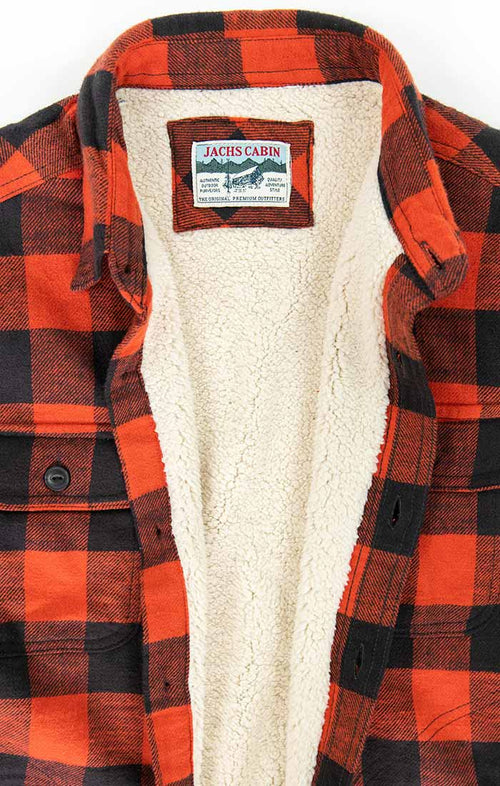 Red Sherpa Lined Flannel Shirt Jacket
