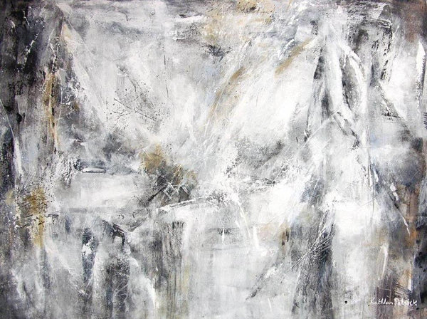 Abstract Art Canvas Print in Black, White and Gray -
