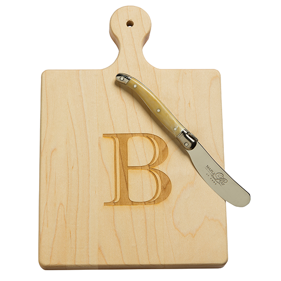Monogrammed Maple Artisan Boards with French Spreader Knife - Choose Your Initial