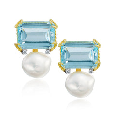 Blue Topaz and Pearl Earrings