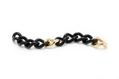 Black Ebony & Gold Link Bracelet