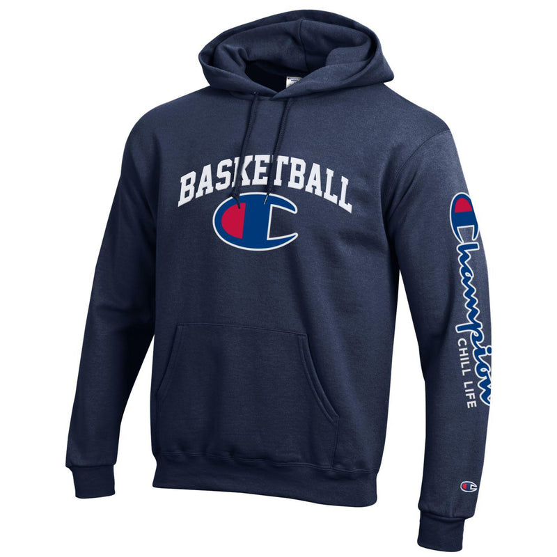 CHILL-LIFE and CHAMPION BASKETBALL HOODIE-NAVY
