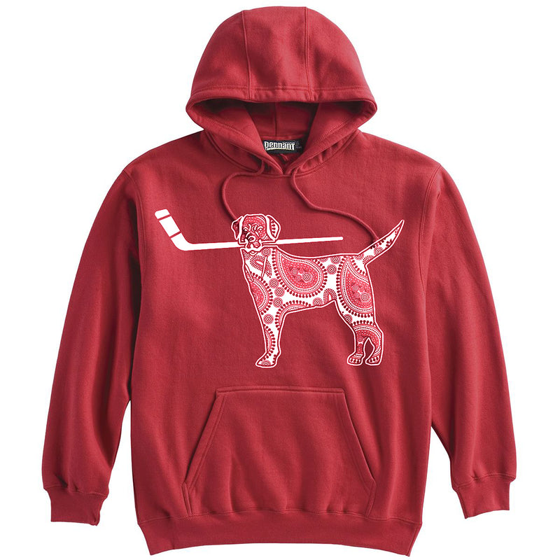 Dog with Hockey Stick Hockey Heavyweight Hoodie