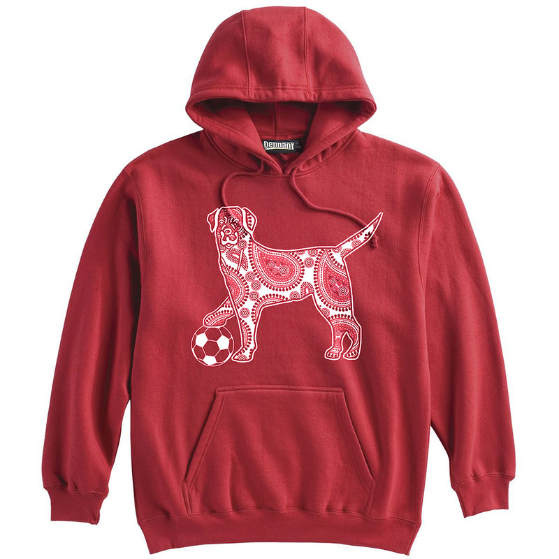 Dog with Soccer Ball Soccer Heavyweight Hoodie