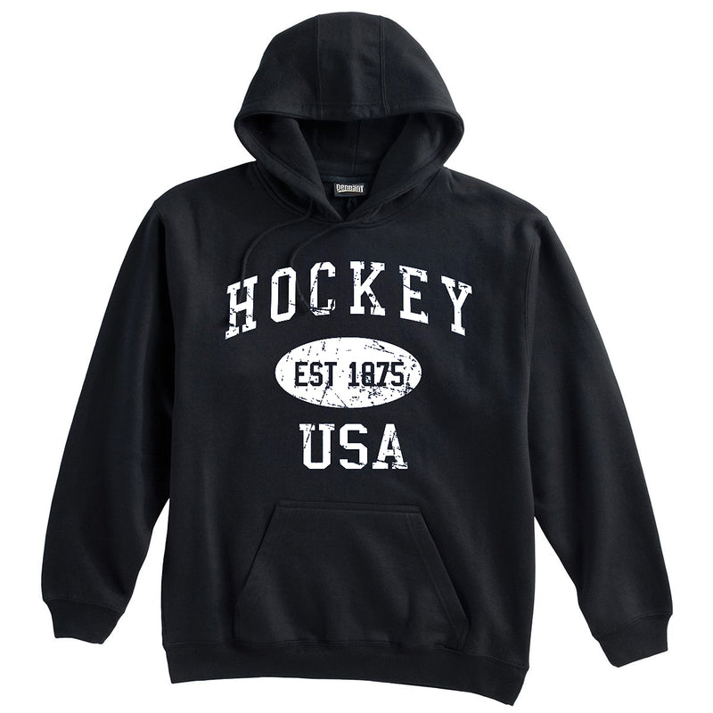 Hockey Sweatshirt-Vintage Distressed Established Date USA