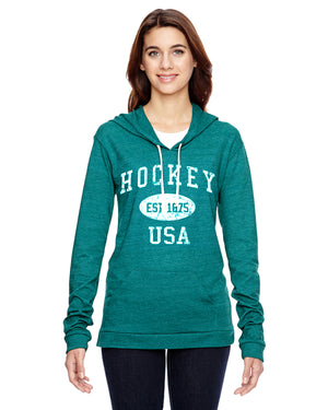 Hockey Eco Jersey Pullover Hoodie-Vintage Distressed Established Date USA