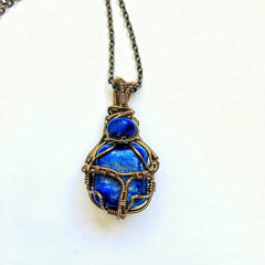 Custom wire-wrapped lapis lazuli necklace