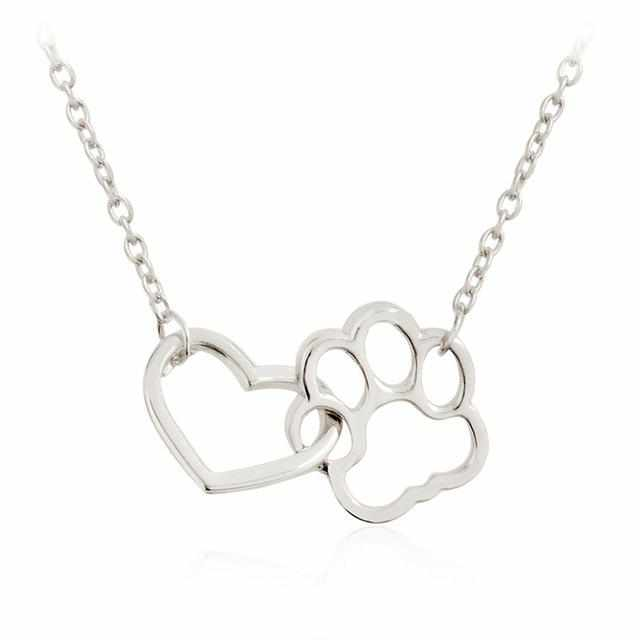 Hollow Paw & Heart Necklace - DogWoofers, DogWoofer, Dog Woofer, Dog Woofers, Dog Jewelry