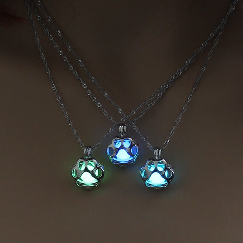 Glow In The Dark Dog Paw Necklace - DogWoofers, DogWoofer, Dog Woofer, Dog Woofers, Dog Jewelry