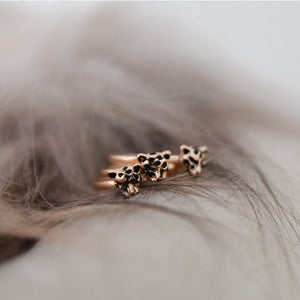 3 cute finger rings, CHEETAH. Light rose gold