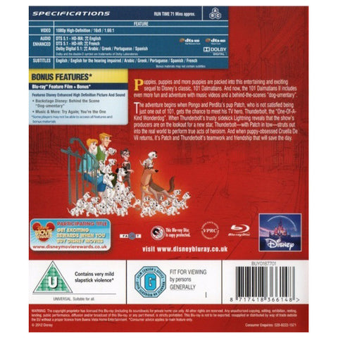 101 Dalmatians II Patch's London Adventure blu-ray back cover