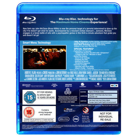 DIE HARD WITH A VENGEANCE blu-ray back cover