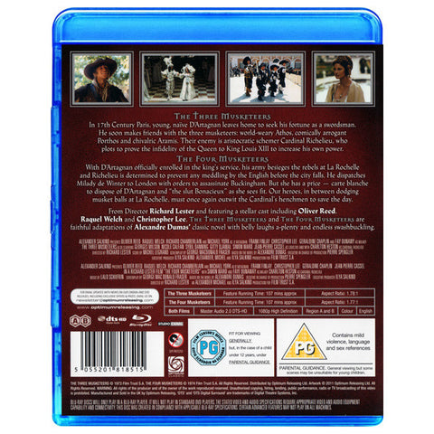THE THREE MUSKETEERS/ THE FOUR MUSKETEERS blu-ray back cover