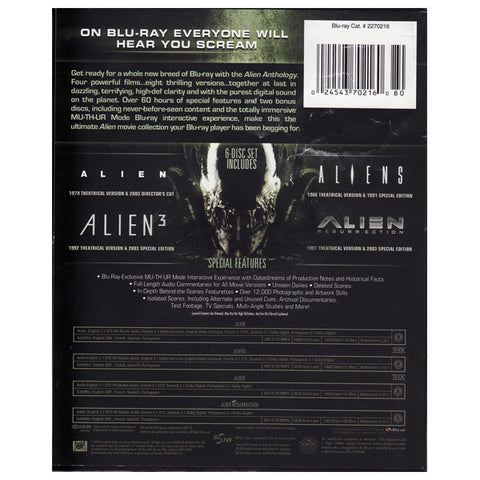 ALIEN ANTHOLOGY(alien/aliens/alien 3) blu-ray back cover