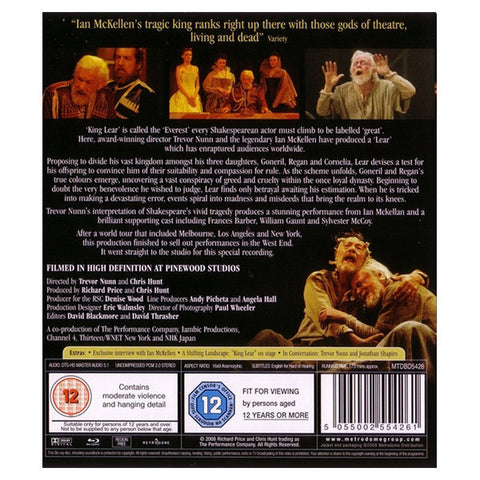 KING LEAR blu-ray back cover