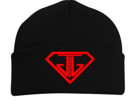 JTJ Blood Red Logo Black Beanie Hat