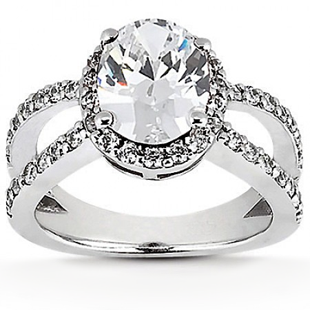 Oval Halo Diamond Semi-Mount Engagement Ring Setting